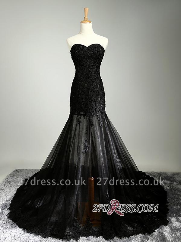 Elegant Black Sweetheart Mermaid Evening Dress UK Sheer Skirt Long Party Dress UK With Lace