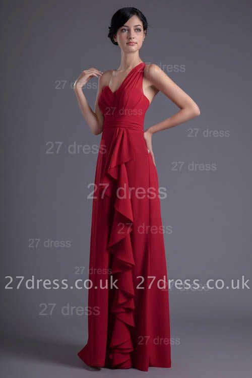 Modern One Shoulder Chiffon Evening Dress UK Floor-length Ruffles