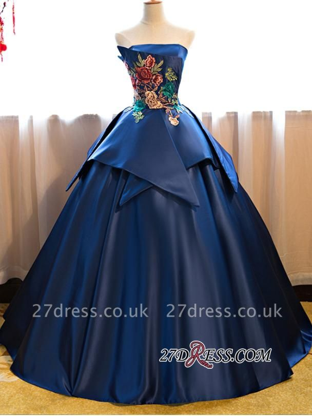 Puffy Strapless Embroidery Sexy Long Prom Dress UKes UK On Sale