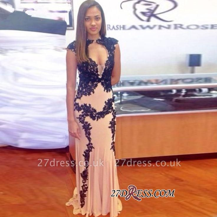 Sweep-Train Lace-Appliques Elegant Long Cap-Sleeve Mermaid Prom Dress UK