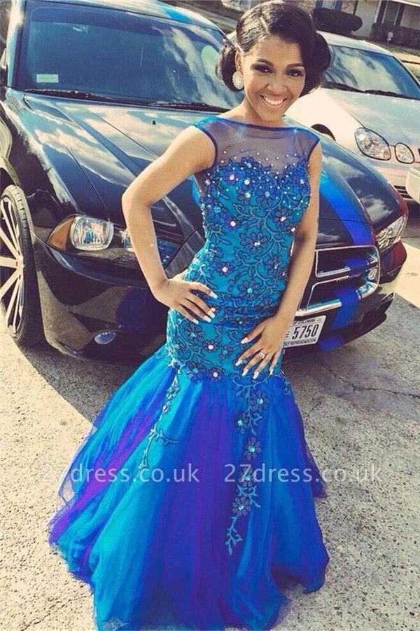 Elegant Crystals Mermaid Illusion Prom Dress UK Flowers Sleeveless Open Back