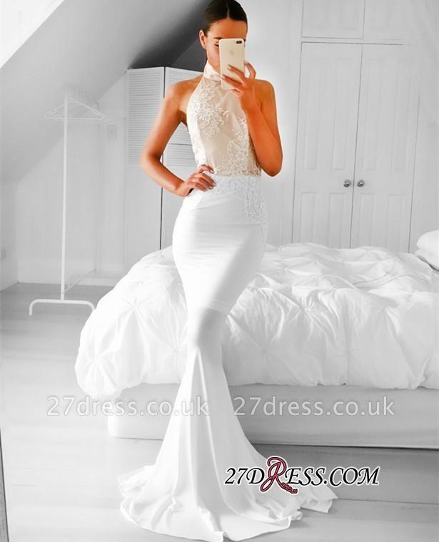 Appliques Simple Mermaid Halter Sleeveless Prom Dress UK