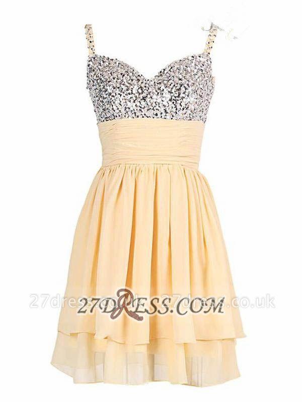 Elegant Sweetheart Sleeveless Beadings Chiffon Short Homecoming Dress UK