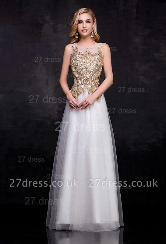 Delicate Lace Appliques Tulle Evening Dress UK A-line Floor-length