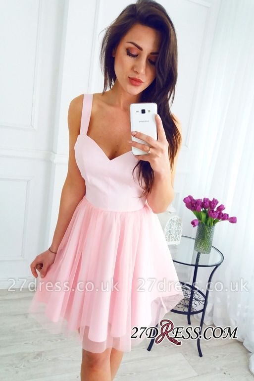 Sleeveless Newest Pink Short A-line Straps Homecoming Dress UK