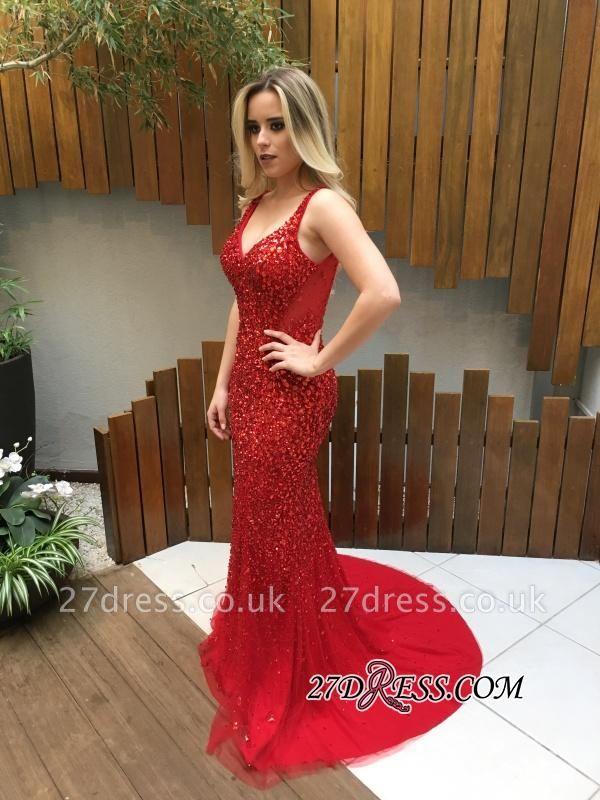 Long Crystals Red V-Neck Backless Mermaid Prom Dress UKes UK