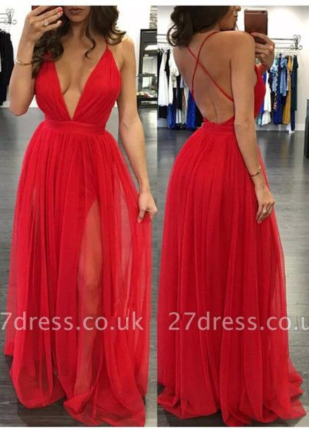 Elegant Tulle Spaghetti Strap Prom Dress UK Sleeveless Deep V-neck BA3629