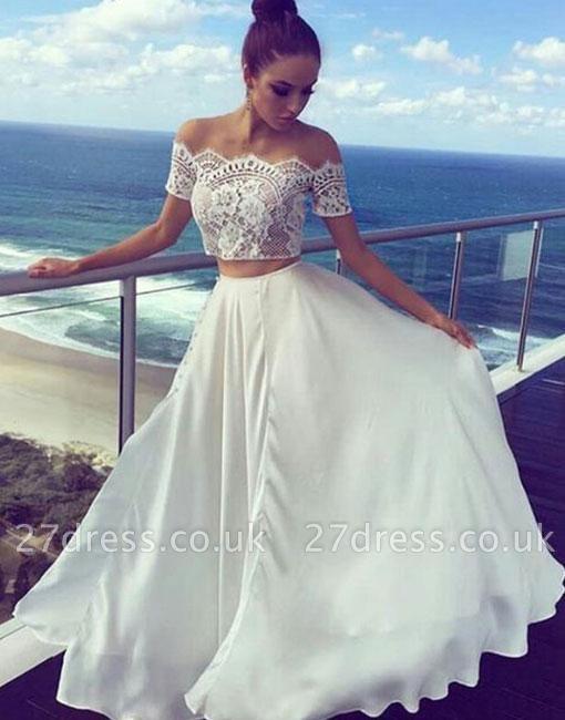 Sexy Two Pieces Lace Prom Dress UK Chiffon Short Sleeve Evening Dress UK BA7422
