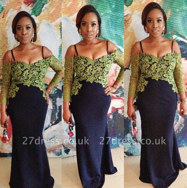 Hot Sale Long Sleeve Evening Dress UK Appliques Black Floor Length