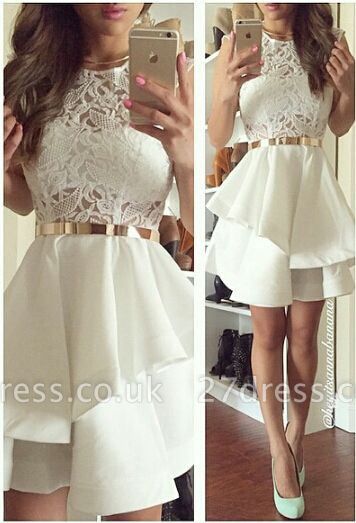 Newest Illusion Short White Cocktail Dress UK Lace Two Layer Ruffles