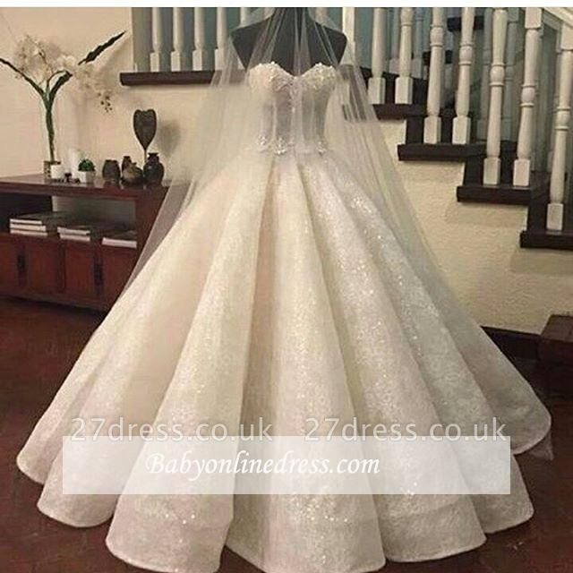 Gorgeous Lace Ruffles Sweetheart-Neck Ball-Gown Wedding Dresses UK