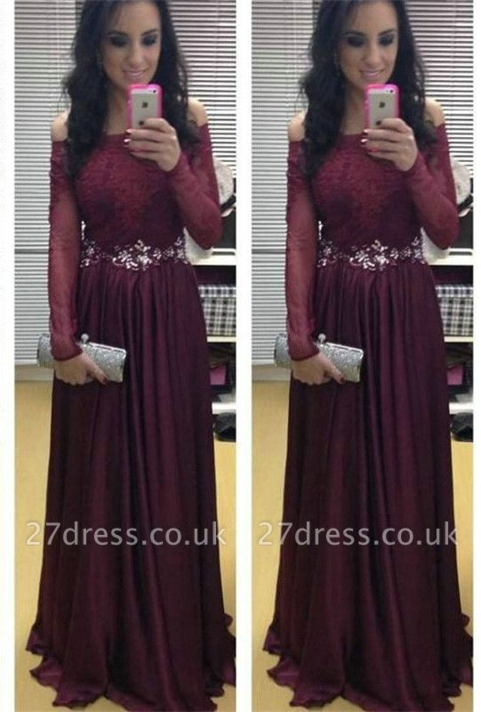 Stunning Long Sleeve Off-the-shoulder Evening Dress UKes UK Burgundy Lace Appliques Crystal