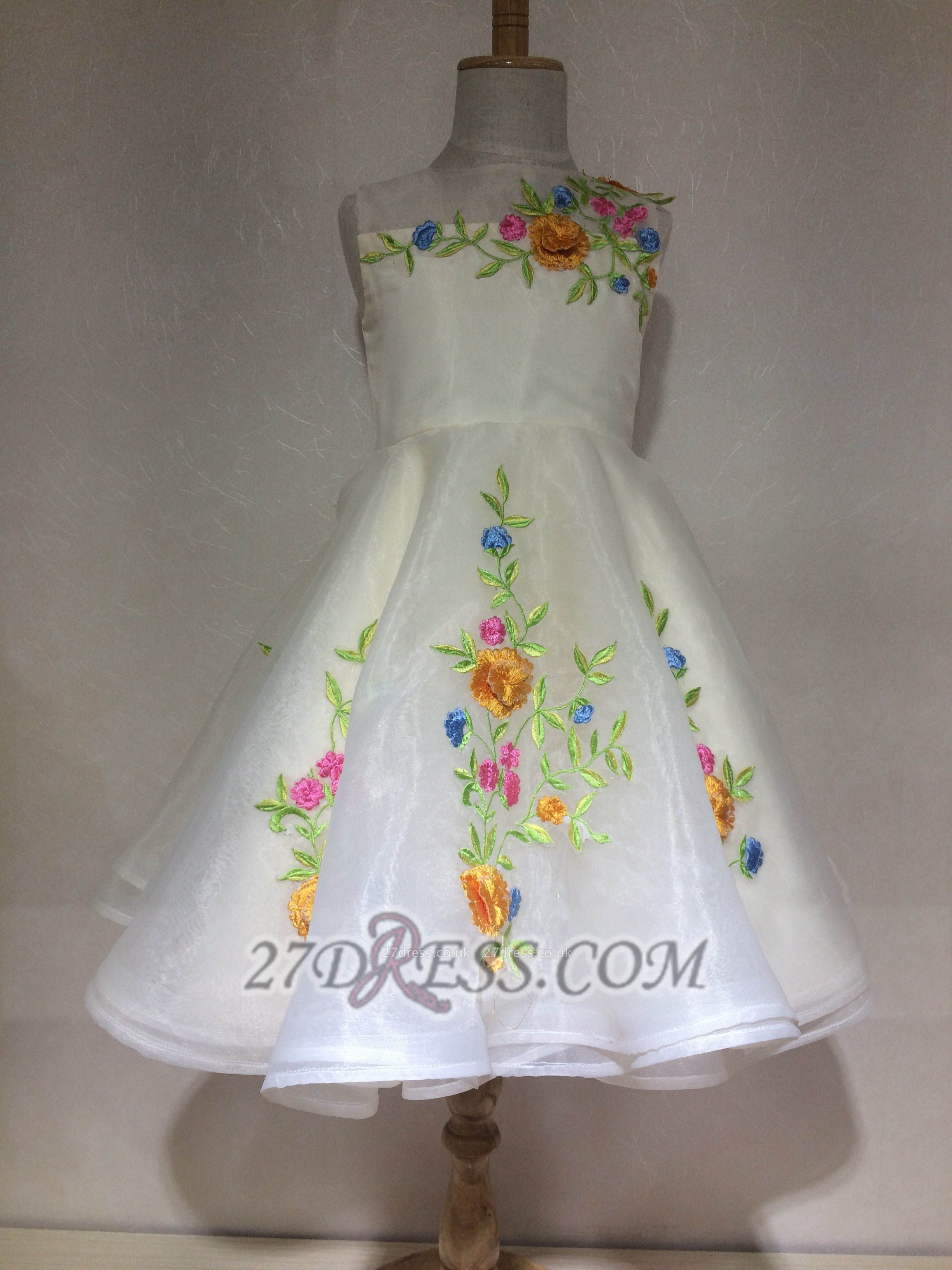 Beautiful Cinderella Embrodiary Flowers Sleeveless Flower Girl Dress