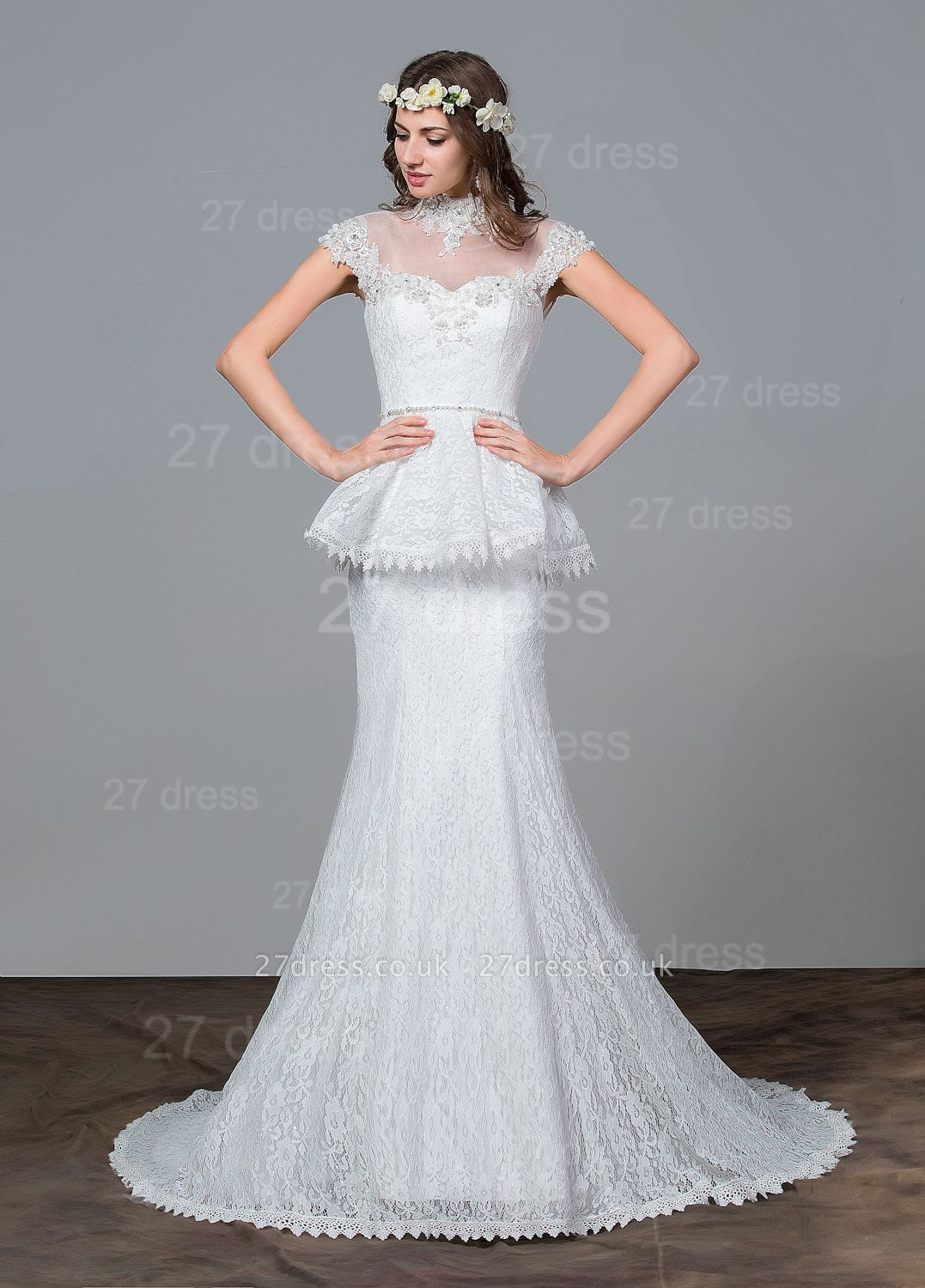 Modern Lace Tulle A-line Wedding Dress Beadss Sweep Train