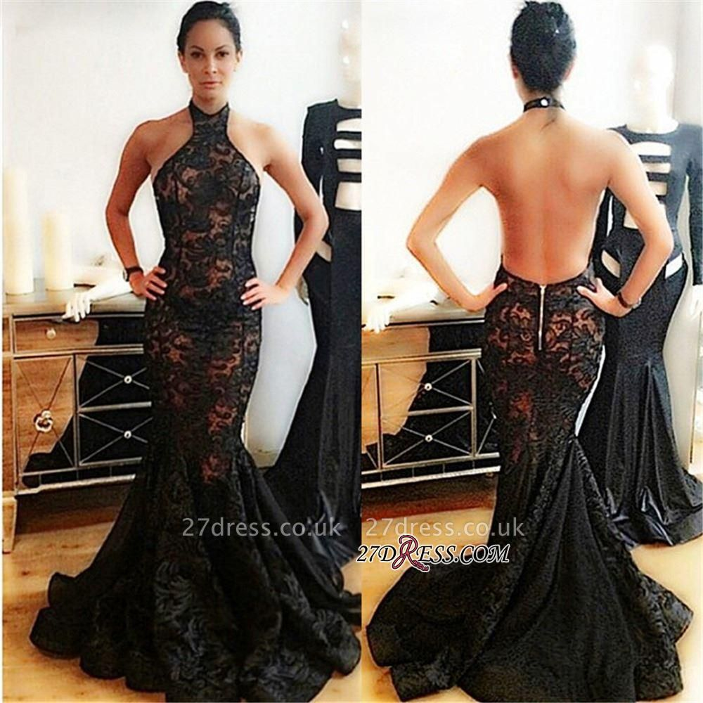 Black Popular Backless Mermaid Lace Halter Prom Dress UK