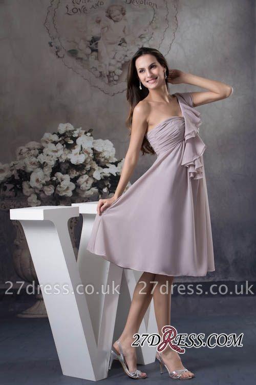 One-Shoulder Knee-Length Sexy Sheath Simple Short Bridesmaids Dress UKes UK