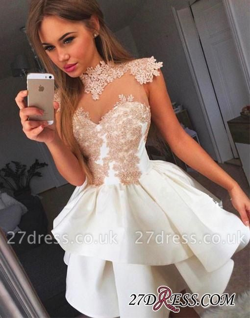 Lace-Appliques Delicate High-neck Cap-Sleeve Short Homecoming Dress UK BA7206