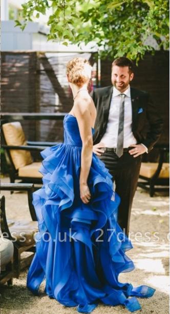 Elegant Strapless Sleeveless Royal Blue Prom Dress UK Spaghetti Strap With Ruffles