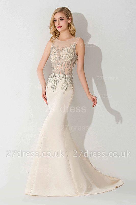Elegant Illusion White Mermaid Evening Dress UK Sweep Train
