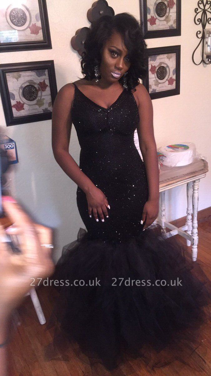 Elegant V-Neck Mermaid Party Dress UK | Tulle Prom Dress UK With Sequins BK0