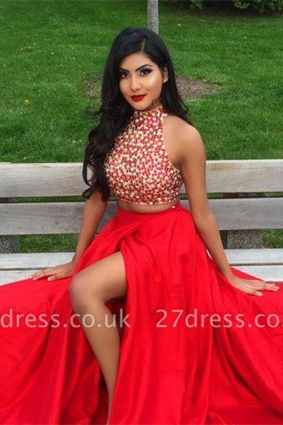 Newest Two Piece Beading Prom Dress UK Front Split