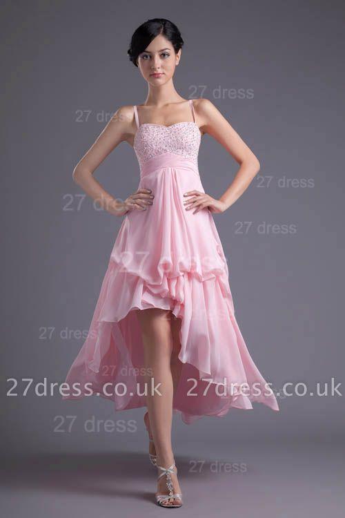 Elegant Pink Beadings Chiffon Prom Dress UK Hi-Lo Spaghetti Strap