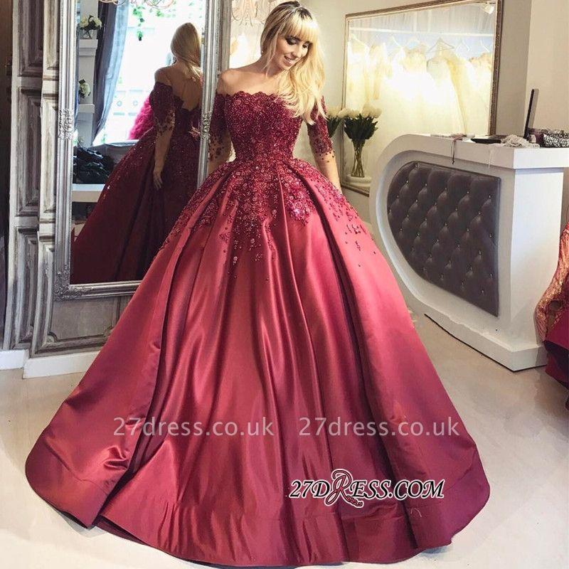 Crystal Appliques Long-Sleeves Off-the-Shoulder Burgundy Ball Prom Dress UKes UK