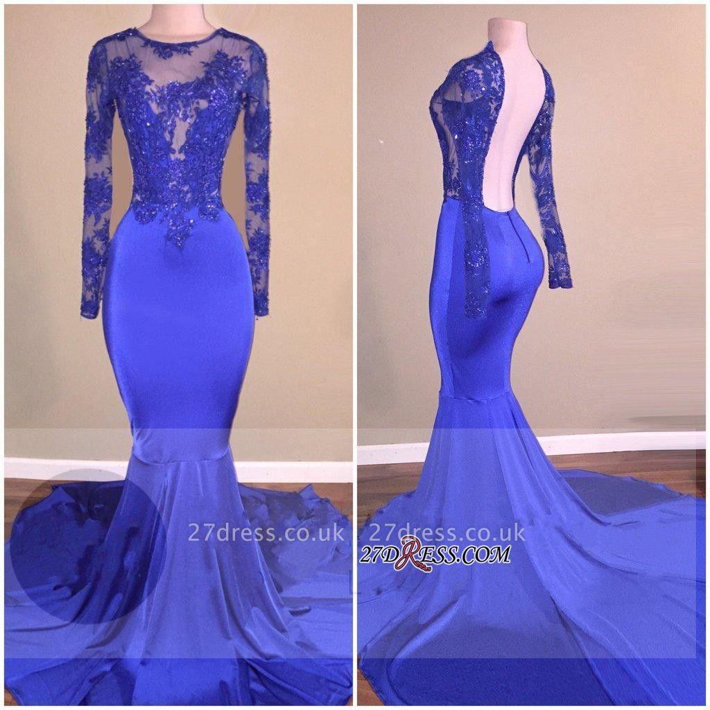 Mermaid Royal-Blue Open-Back Shiny Sheer Long-Sleeves Prom Dress UKes UK BA7871