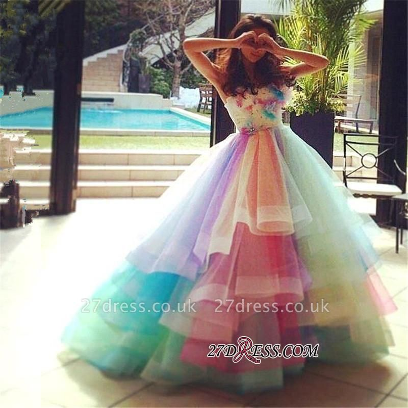 Puffy Floral Ball Princess Rainbow Strapless Gown Tiered Organza Evening Dress UKes UK