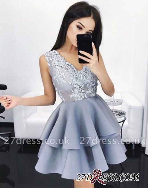 V-Neck Lace A-line Sexy Layers Sleeveless Homecoming Dress UKes UK