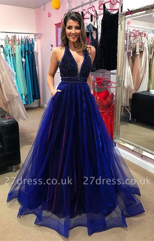 Sexy V-Neck Evening Dress UK | Prom Dress UK With Beadings