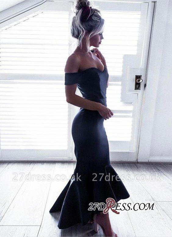 Black Off-The-Shoulder Short-Sleeves Hi-Lo Ruffle Mermaid Chic Prom Dress UKes UK