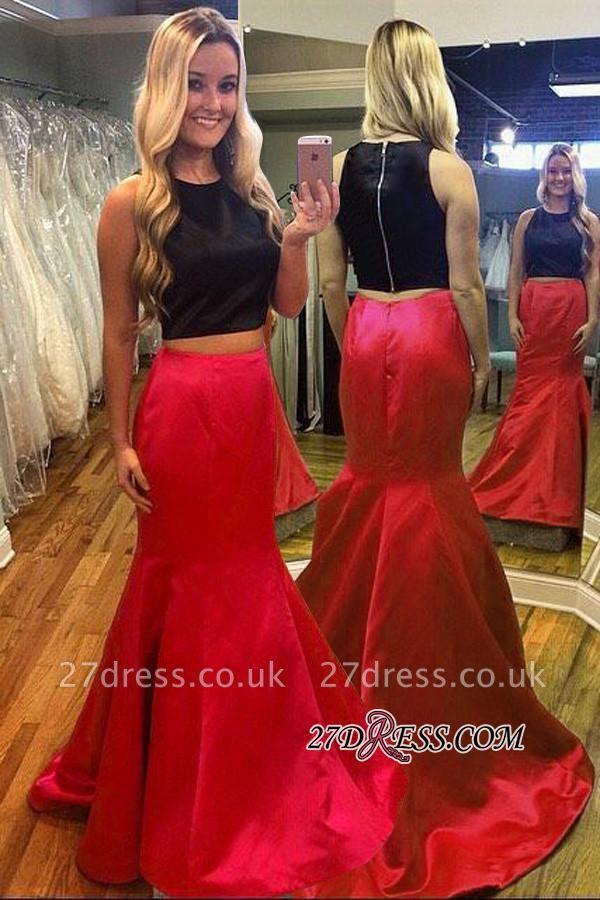 Luxury Black Red Mermaid Two-Piece Sleeveless Evening Dress UK