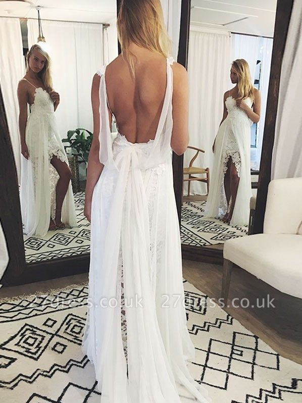 Chic Backless Lace Wedding Dresses UK Simple Side Slit Spaghetti -Strap Bridal Gowns