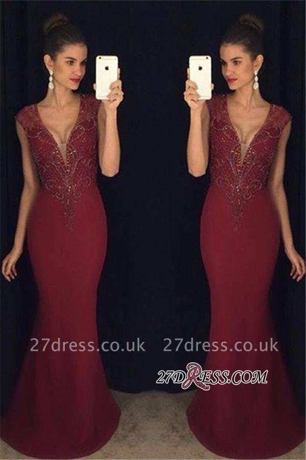 Mermaid Sleeveless Beadings Luxury Burgundy Prom Dress UK