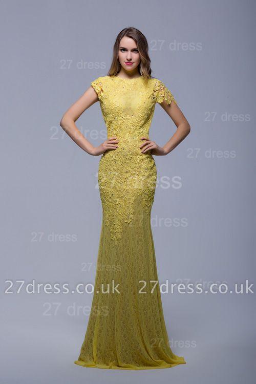 Newest Jewel Lace Appliques Evening Dress UK Open Back