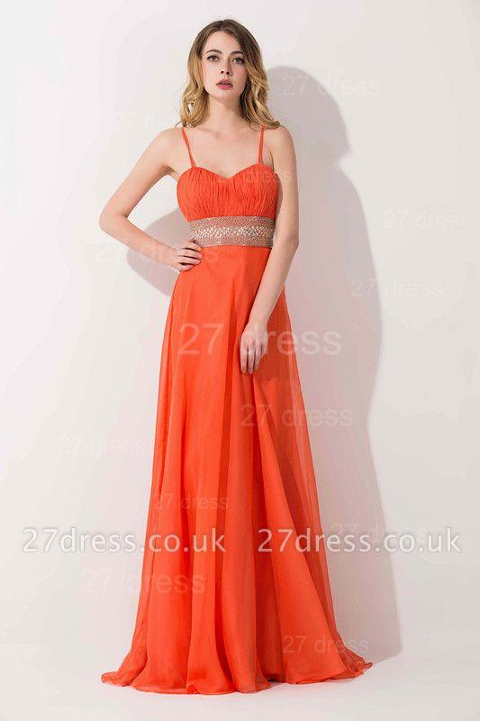 Modern A-line Chiffon Evening Dress UK Beadings Spaghetti Strap