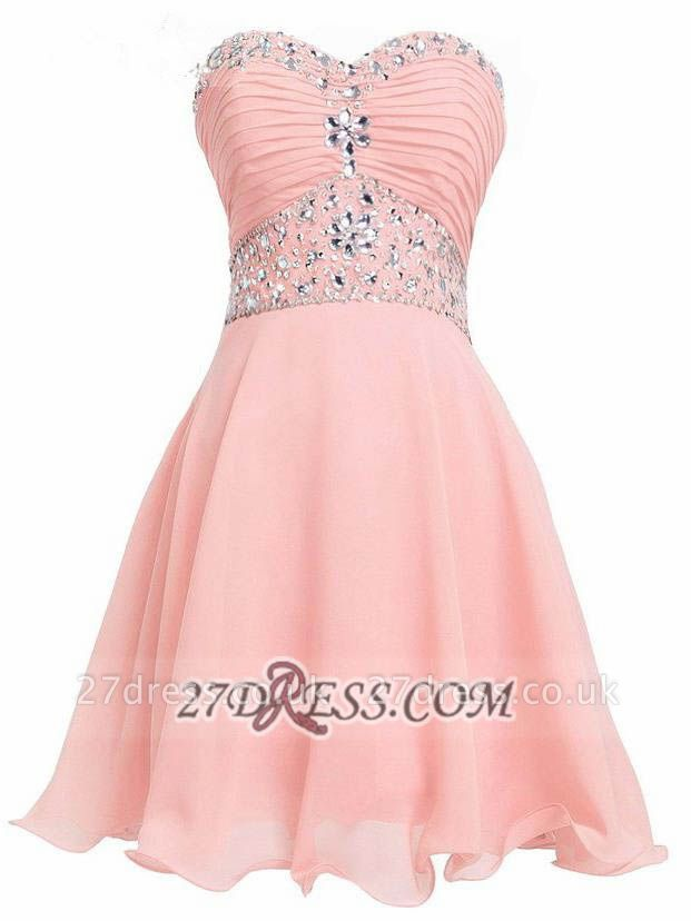 Lovely Semi-sweetheart Sleeveless Cocktail Dress UK Lace-up Crystals Chiffon Short Homecoming Gown
