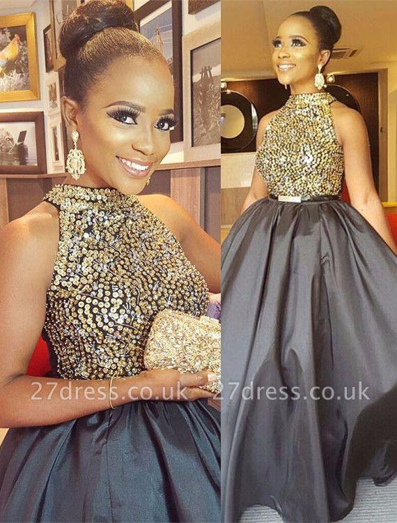 Gorgeous Halter Crystal Beads Prom Dress UK Long Sleeveless On Sale BA8231 BK0