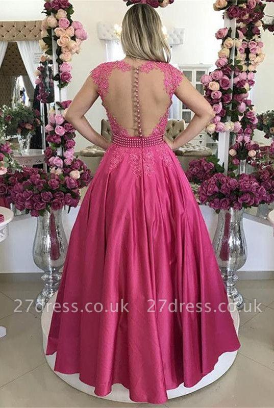 Cap Sleeve Fuchsia Lace Evening Dress UK Long On Sale BMT