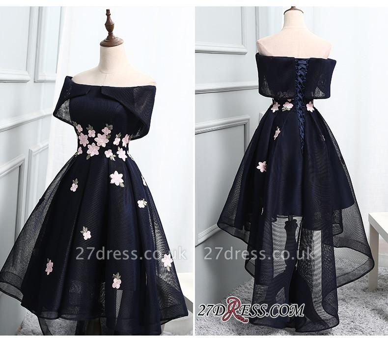 Luxury Hi-Lo Lace-up Prom Dress UK Off-the-Shoulder Party Dress UK