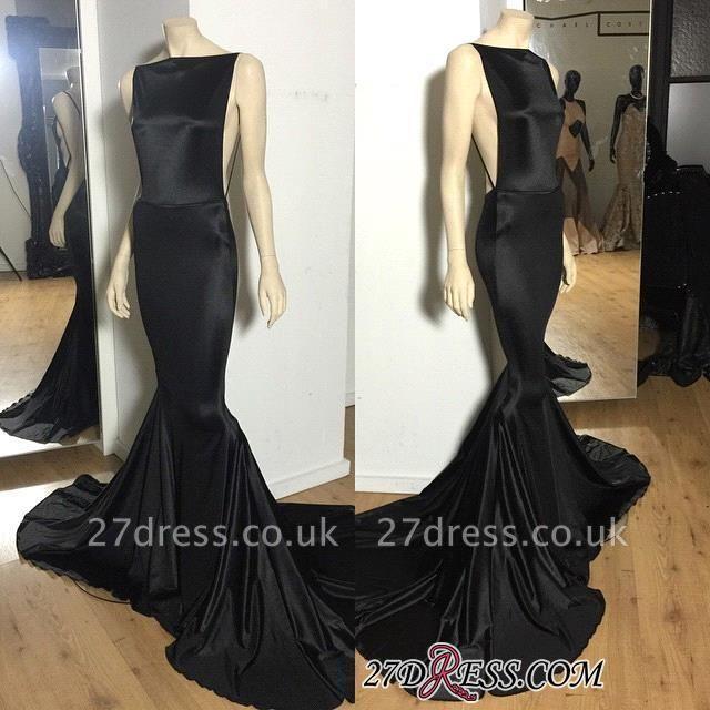 Long Open-Back Black Sexy Mermaid Court-Train Elegant Evening Dress UK