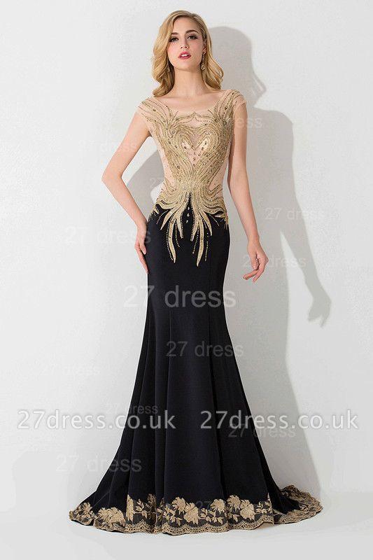 Elegant Mermaid Appliques Cap Sleeve Evening Dress UK Sweep Train