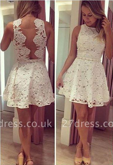 Newest Lace Jewel Mini Homecoming Dress UK Sleeveless High Quality