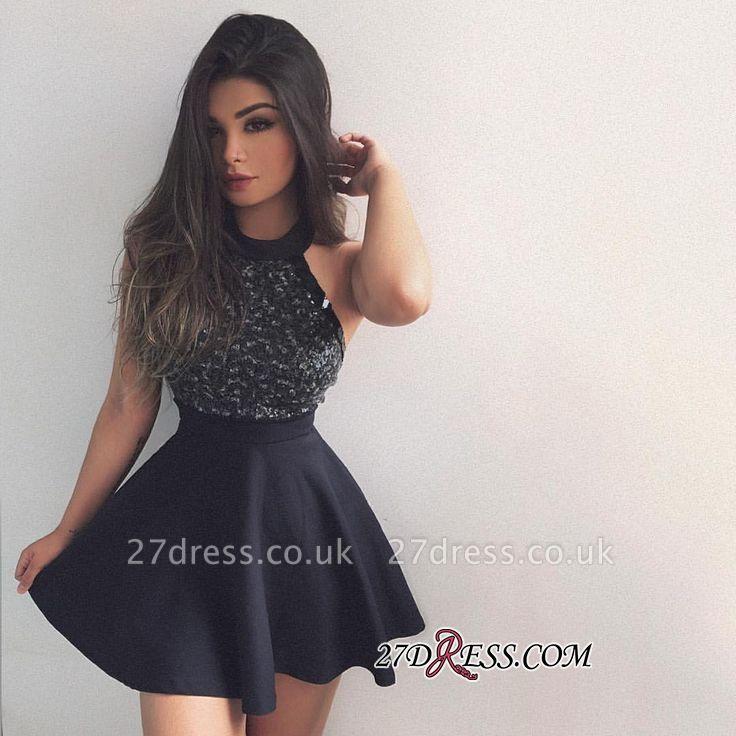 Cute A-line Short Beading Sleeveless Halter Homecoming Dress UK