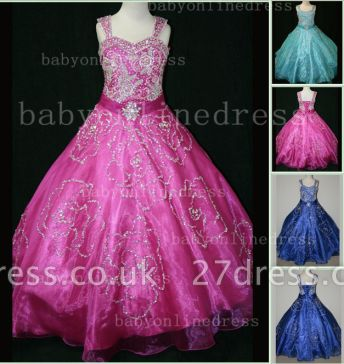 Beaded Girls Pageant Dresses for Sale Hot Beautiful Straps Crystal Organza Gowns for Sale