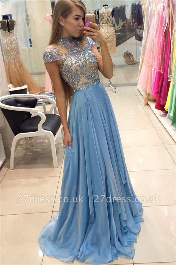 Delicate Beadings Chiffon A-line Prom Dress UK Cap Sleeve Sweep Train BA3824
