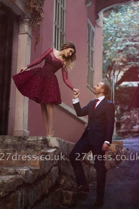 Timeless Long Sleeve Beadings Sequins Short Prom Dress UK A-Line On Sale BA1772