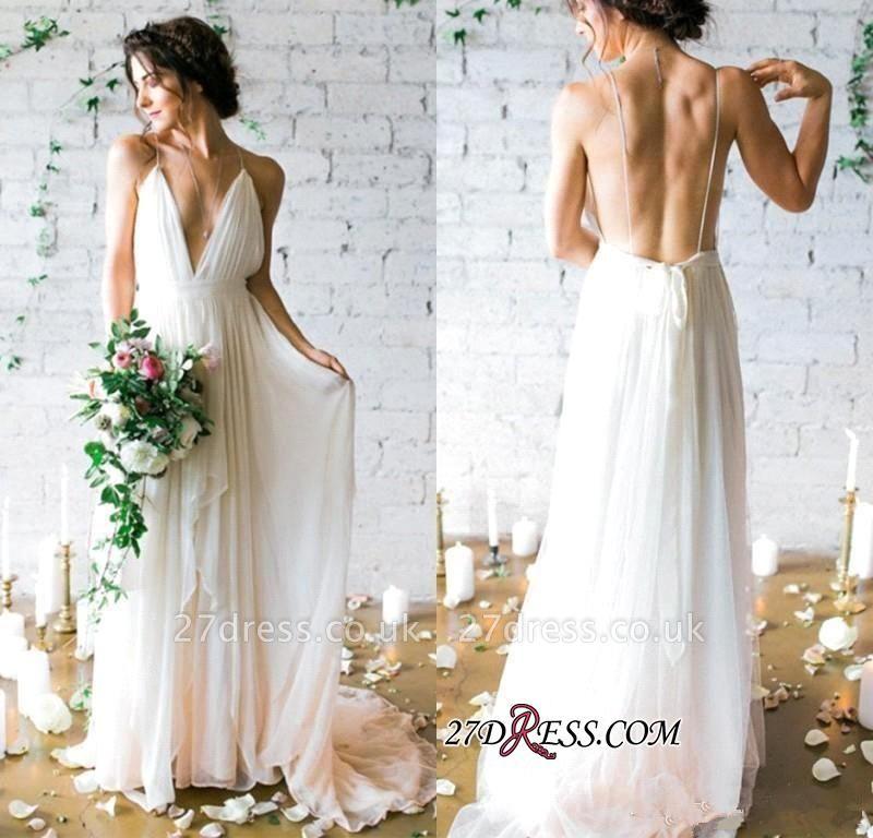 V-Neck Beach  Sleeveless Long Elegant Wedding Dress