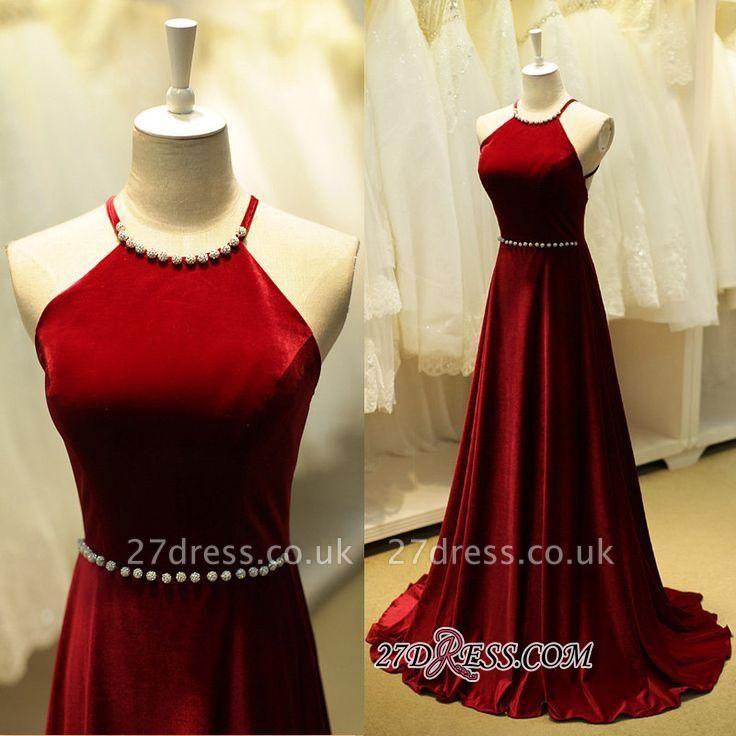Sexy Sleeveless Beadings Halter Long Evening Dress UK